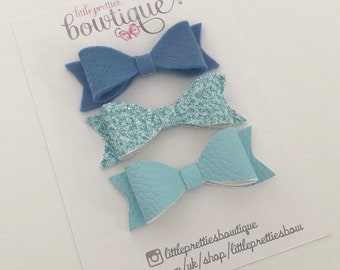 Set of blue Dahlia hairbows