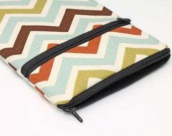 Galaxy Tab Pro Sleeve, Kindle Oasis Pouch, Lenovo Yoga Tab Cover, Google Pixel C Case - blue, green, rust, brown natural chevron stripes