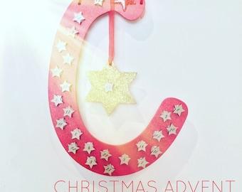 Advent calendar, Christmas countdown, advent, wooden calendar, hanging advent,