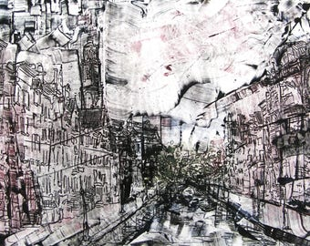Monoprint etchplate, Amsterdam without Angels. Handmade paper.