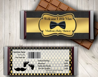 Little Man Party Candy Bar Wrappers, Personalized Baby Shower Party Favors, Little Man Birthday, Black and Gold, Custom Birthday Wrappers
