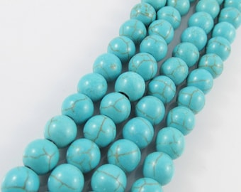 20pcs Howlite Synthetic Turquoise Beads Round 8mm Hole 1.2mm