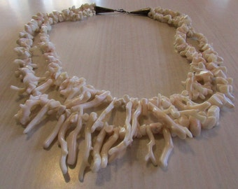 Two Strand White Branch Coral Necklace