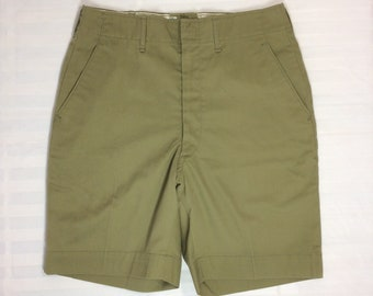 1960s Boy Scouts of America uniform plain olive green shorts 27 inch waist camping sherpa hiking Talon zipper