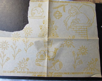 vintage embroidery transfer (yellow)