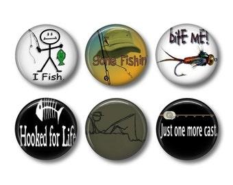 Fishing pinback button badges or fridge magnets, fridge magnet set
