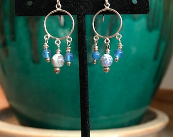 Sterling Silver Earrings with Agate