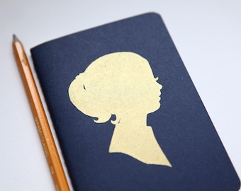 golden girl, screenprinted moleskine cahiers journal in NEW navy blue cover (blank pages)