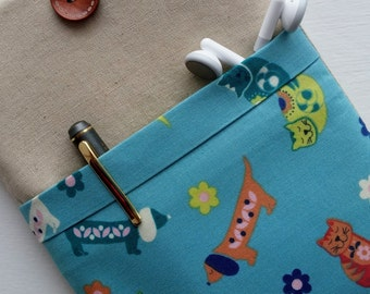 Kindle paperwhite cover Kindle paperwhite case sleeve Kindle Fire small tablet galaxy tab pro pad Linen CUTE CUFF collection teal pets