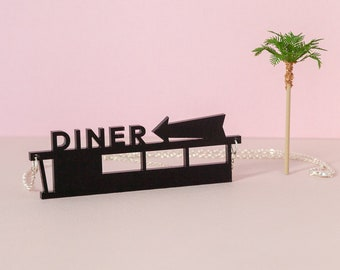 Laser-cut Diner necklace by Tiny Scenic | Retro necklace