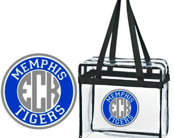 Memphis Tigers Border w/ Personalized Monogram Clear Tote Bag with Zipper Closure