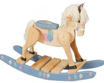 Blue Boys Rocking Horse Wooden Amish Made Solid Poplar Painted Wood Toy!