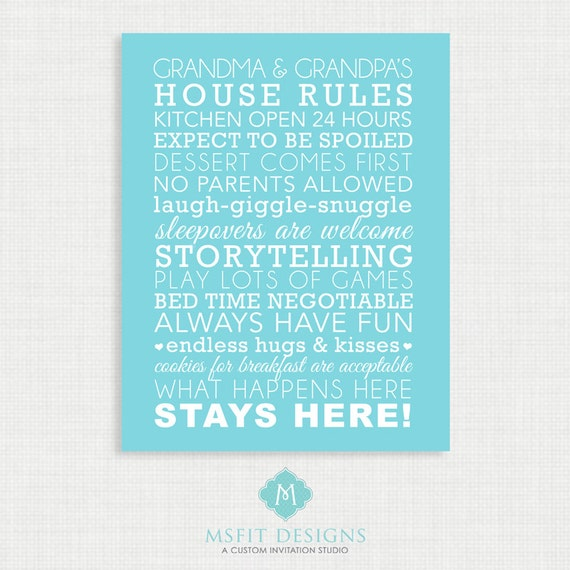 Grandparent Gift - Grandparent House Rules - Subway Style - Wall art 11x14