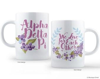 ADPi Alpha Delta Pi We Live For Each Other Wreath Sorority Mug
