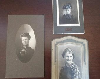 vintage set of three women's photos