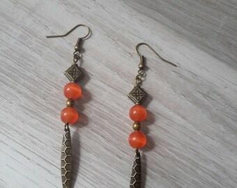 bronze Pearl Earrings orange