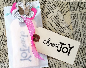 10 choose JOY hand stamped mini tags - Choose Joy - Choose Joy Tag - Happy tag - Happy Mail - Choose Joy Stamp - Happy Mail tags - Joy Tag