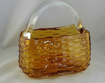 Vintage Amber Glass Basket, Woven Glass Candy Dish,