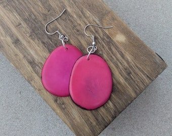Fuchsia Pink Tagua Chip Earrings ~ Organic Ecofriendly Jewelry ~ Summer Earrings ~ Natural Earrings ~ Ethical Ivory Alternative ~ Tagua Nut
