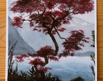 A3 Red Tree Landscape Print