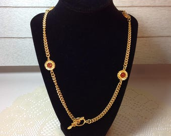 Goldtone Necklace Goldtone Chain with Flowers Sunflowers Fashion Jewelry Costume Jewelry