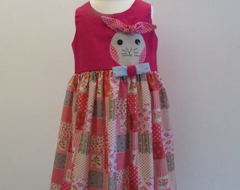 Girls Easter dress with bunny applique.  Age 4 years