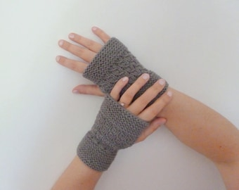 Women knitted woolen mittens