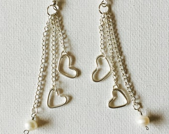 Triple Chain Silver Heart And Freshwater Pearl Charms Dangling Earrings