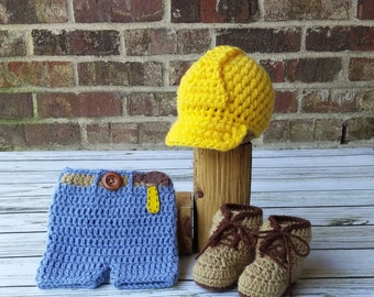 Construction Set - Hard hat - Baby Construction Set with Hard Hat and Work Boots - Newborn Photography Prop - Halloween Costume