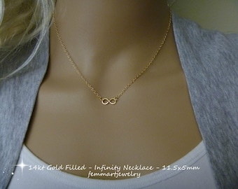 Tiny Infinity Necklace - Gold Filled Infinity link charm - Infinity Chain in Gold- Infinity Choker Necklace