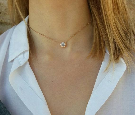 Dainty Diamond Necklace - Bridesmaid gift - Cubic Zircon Choker - Diamond Bezel - Best Gifts for Women - Solitaire Diamond Necklace