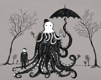 Young Master Lovecraft finds a friend- A4 art print by Jon Turner- geeky HP Lovecraft pen and ink artwork- Free Worldwide Shipping