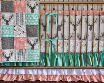 Woodland  Crib Bedding, Deer hide,  baby girl, , peach, coral and mint, deer head, going stag, floral antlers, fawn, doe