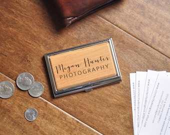 Business gift etsy business card case personalized business card holder engraved custom gift corporate gift colourmoves