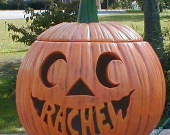 Personalized Ceramic Halloween JACK-O-LANTERN Pumpkin Lamp Light
