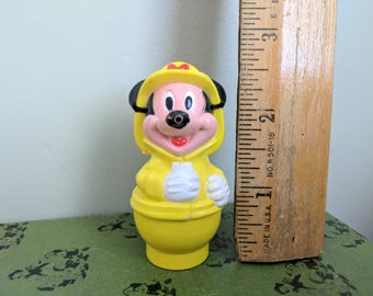 2.5 Inch Mickey Mouse Plastic Figure, Yellow Fire Fighter Outfit, LIttle People, Disney