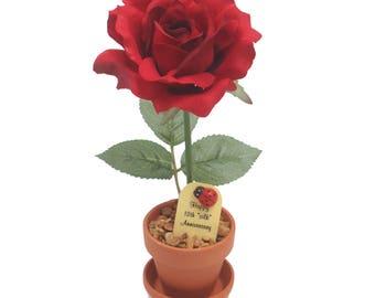 12th  Anniversary gift - silk rose