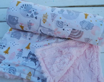 Minky baby blanket-Personalized girls pink minky faux fur baby blanket in woodland print-customized baby blanket with applique name