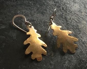 Hand made brass and silver oak leaf earrings