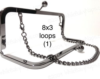8x3 Duskcoat Gunmetal (TM) clutch purse frame with LOOPS