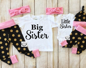 Big Sister Little Sister Outfits, Baby Girl Coming Home Outfit Set,Country Outfits,Gold Dots,Black and Gold,Sister Leggings,NOT REAL GLITTER