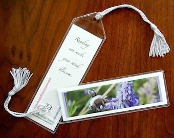 Flying Pig Bookmark, Pigasus Pollinates Sage Mini Art Bookmark with Tassel - Small, Altered Photo Bookmark, Pig with Wings Bookmark
