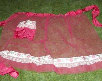 Vintage 1950s Half Apron Hot Pink Tulle Ribbon Trim and Pocket Estate