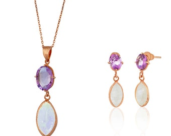 Amethyst and Moonstone pendant necklace and earrings set, sterling silver coated 18K gold, amethyst pendant, moonstone pendant, necklace