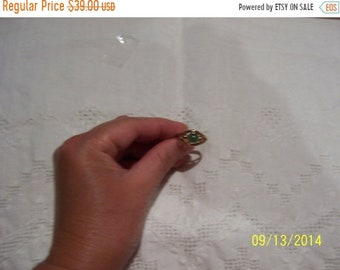 SUMMER SALE 20% OFF, Vintage Green Stone ring. Yellow gold plated.