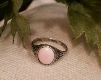 Pink Stone Ring, SterlingVintage Ring, Stamped Sterling Silver , .925, Patina, Scroll Design, Sterling Silver Rings, Vintage Ring