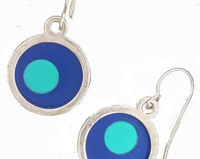 two tone Silver Round Small Earrings
