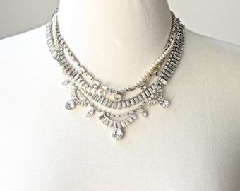 Bridal Necklace, Wedding Necklace, Wedding Jewelry, Delicate Rhinestone Necklace, Vintage Pearl & Rhinestone Wedding Necklace MADE TO ORDER