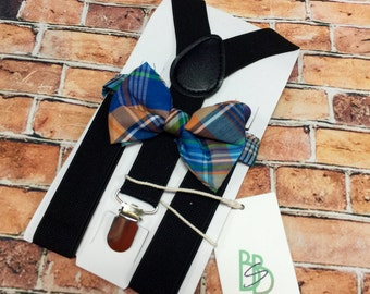Little Boys Bow Tie and Suspender Set - Fall Plaid