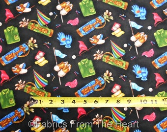 Golf Golfing Stuff Balls Bags Gloves BLack BY YARDS Fabri Quilt Cotton Fabric